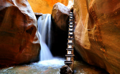 Link to Kanarra Falls page on the town website with picture of Kanarraville Falls